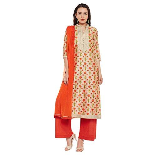 Salwar Silk Kameez Dress - PinkShink Orange Floral Chanderi Silk Kurta Palazzo Dupatta Set prt203 (XL)