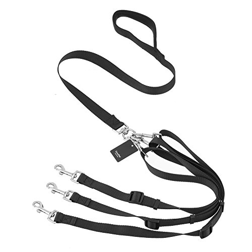 Adjustable Dog Leash Coupler - COCOPET Heavy Duty 3 Way Dog Coupler Braid Leash Adjustable No-Tangle with Padded Handle Nylon Pet Leash for Walking Three Two One Dogs (3 in 1)