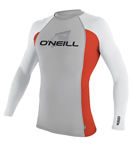 White Rash Vest (O'Neill Wetsuits UV Sun Protection Mens Skins Long Sleeve Crew Sun Shirt Rash Guard, Lunar/Neon Red/White, X-Small)