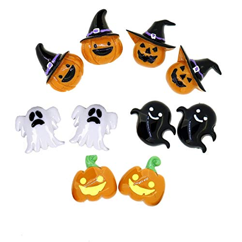 Halloween Ghost Pumpkin Cartoon Clip on Earrings Jewelry Costume Party Gift, 5 Pairs ()