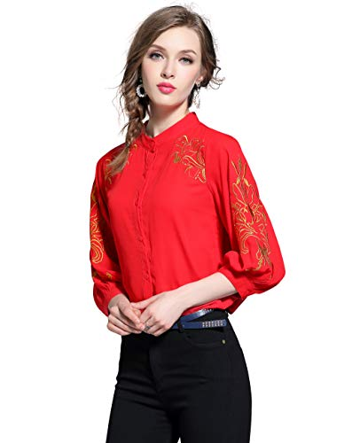 Women's Long Sleeve Embroidered Floral Button Down Loose fit Blouses Tops