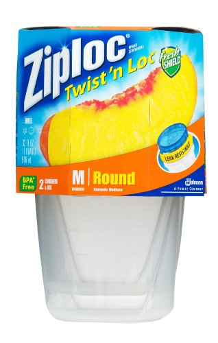 Ziploc Twist 'N Loc Containers, Medium 2 Containers/Lids (Pack of 6) (Twist Lock Lid)