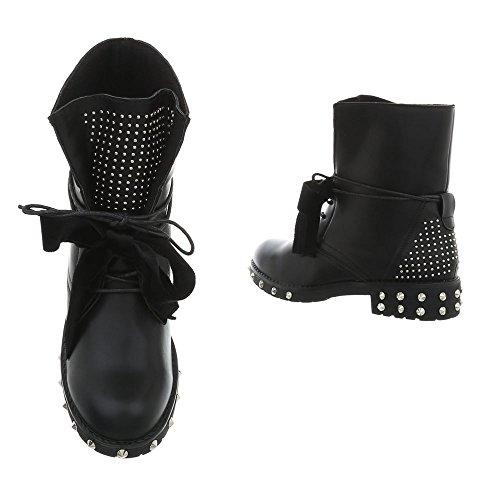 Bottines Femme Noir A Et Lacet design Chaussures Bloc Bottes Ital PHOUwn