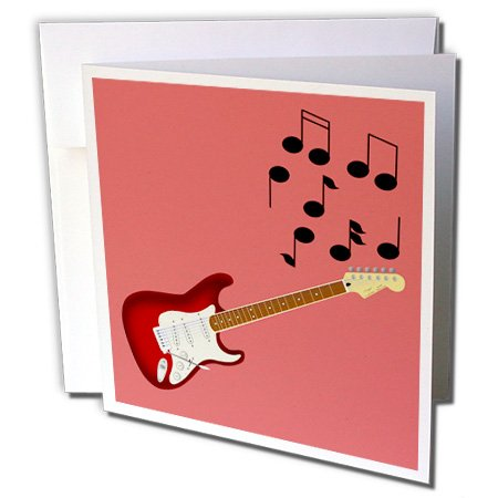 3dRose 777images Designs Graphic Design Music - Red Sunburst Guitar with musical notes - 12 Greeting Cards with envelopes (gc_24096_2)