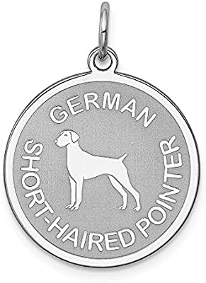 Sterling Silver German Shorthaired Pointer Disc Charm Pendant