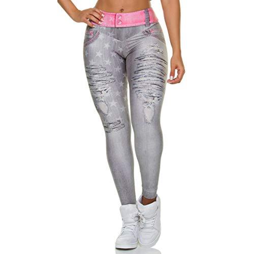 CapsA Fitness Yoga Pants for Women Slim Faux Fake Ripped Hole Jeans Leggings Stars Workout Yoga Pants Pink