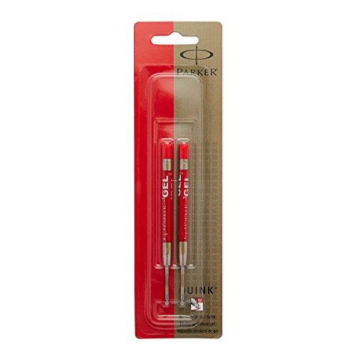 PARKER QUINK Ballpoint Pen Gel Ink Refills, Medium Tip, Red,