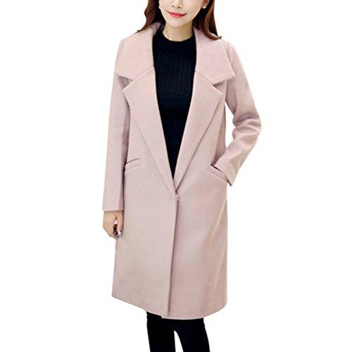 et Coats Button élégant Warm Cardigans Lap Rosa Formal Business with Ladies Zhhlinyuan Pockets Hiver Long Loose Chic Korean 4gwSxWq5F