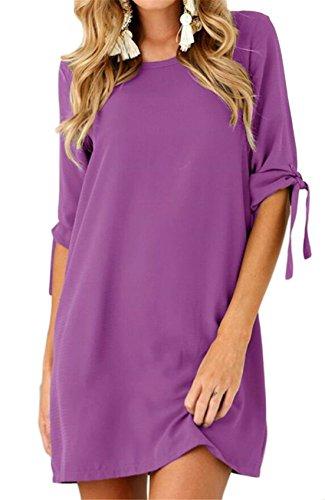 Jaycargogo Le Ras Du Cou Des Femmes Rouler Robes De Loisirs En Mousseline De Soie De Couleur Pure Manches Violet