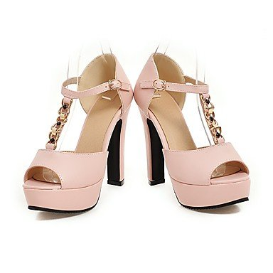 LvYuan Mujer-Tacón Robusto-Zapatos del club-Sandalias-Oficina y Trabajo Vestido Informal-PU-Negro Rosa Beige Pink