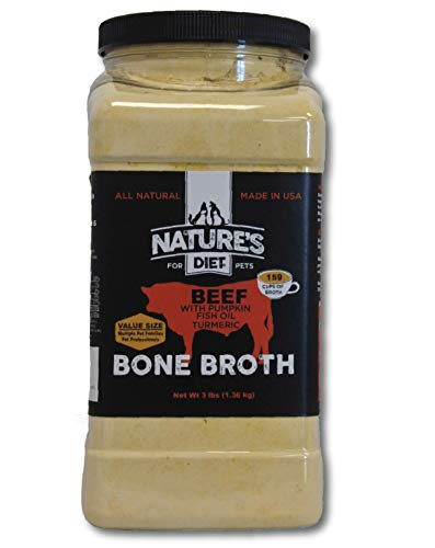 Nature's Diet Pet Bone Broth Protein Powder with Pumpkin, Fish Oil and Turmeric - Beef, 3 pounds = 477 Servings