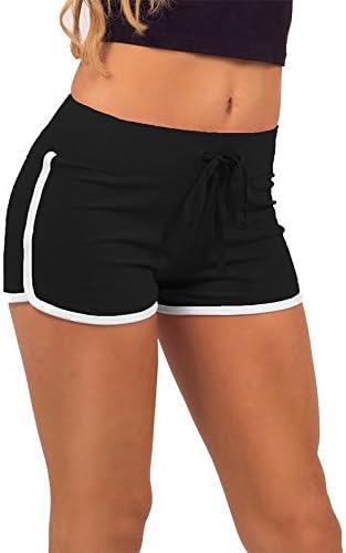 Verde Small Color Verde y Blanco algod/ón Pantalones Cortos Deportivos para Mujer Fansi algod/ón, Cintura de 58-72 cm