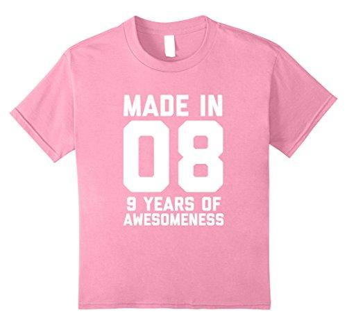 Kids 9th Birthday Shirt Gift Age 9 Year Old Boy Girl Tshirt Tee 10 Pink