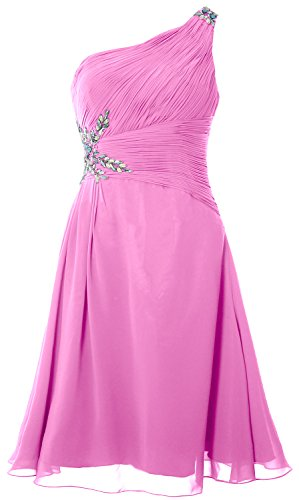 MACloth Women One Shoulder Cocktail Dress Short Wedding Party Formal Gown Rosa