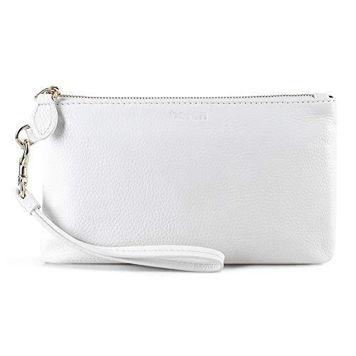 Befen Women Genuine Leather Clutch Wallet, Smartphone Wristlet Purse - Fit iPhone 8 Plus (True White) (White Clutch Purse)