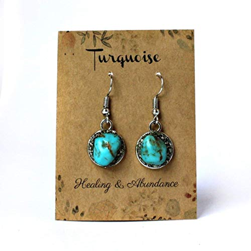 Sterling Silver Plated Handmade Raw Natural Turquoise Dangle Earrings - Stud Turquoise Bracelet
