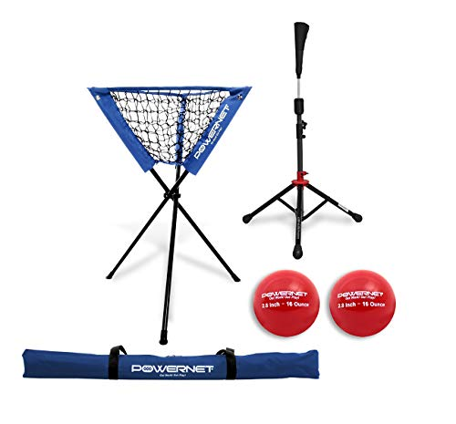 PowerNet Coach's Bundle Ball Caddy + Tee + 2 Pack Heavy Weighted Training Balls for Baseball Softball | Focus on Hitting Drills | Improve Contact Rate Power and Follow Through (Royal Blue)