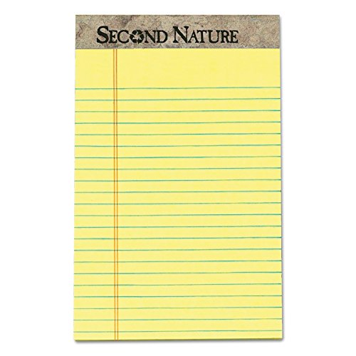TOPS 74840 Second Nature Recycled Pads, Jr. Legal, 5 x 8, Canary, 50 Sheets (Pack of 12)