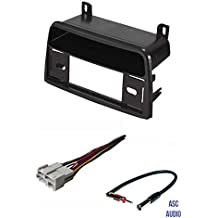 ASC Premium Car Stereo Install Dash Kit, Wire Harness, and Antenna Adapter for installing a Single Din Radio for 1995 1996 1997 1998 1999 Saturn S Series Vehicles- SL SW SC SL1 SL2 SW1 SW2 SC1 SC2