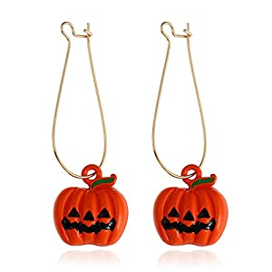 iWenSheng Halloween Pumpkin Earrings Red – Hypoallergenic Crystal Dangle Earring for Women Girls Kids Holiday Night Costume Jewelry Smiling Face Pumpkin Drop Earrings, Fun and Festive