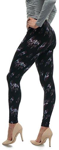 LMB Lush Moda Extra Soft Leggings with Designs- 503F New Feather On Black