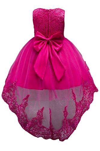 Yming Grandes Dentelle Solides Asymétriques Filles Longue Queue Robes De Fleurs Rose