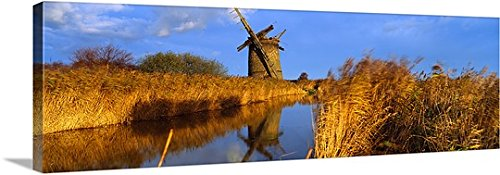 Reflection Of A Traditional Windmill In Water Brograve Mill Sea Palling Norfolk Broads Norfolk England Gallery Wrapped Canvas