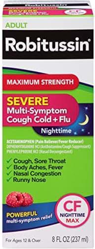 Cough & Sore Throat: Robitussin Maximum Strength Cough Cold & Flu Nighttime