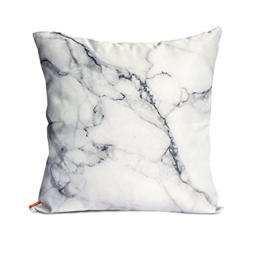 ojia luxury home decorative soft silky satin marble texture two sides throw cushion cover pillow sham 18 x 18 inch white marble