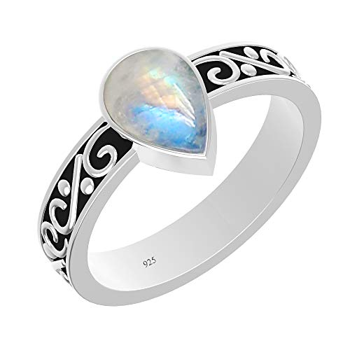 (925 Sterling Silver Solitaire Ring with Natural Rainbow Moonstone for Women Fashion (Size 5))