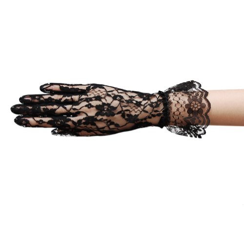 ZaZa Bridal Flower Pattern Women's Lace Gloves with Ruffle Wrist (Lace Wrist Length Gloves)