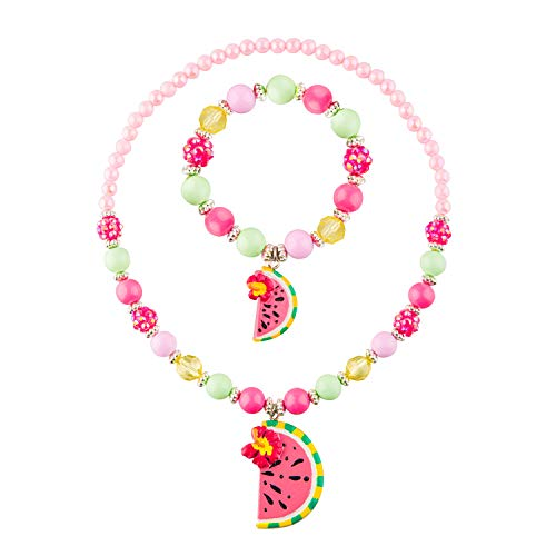 SkyWiseWin Chunky Bubblegum Jewelry Necklace and Bracelet Set for Little Little Girls, Fruit Watermelon Pendant Jewelry for Kids