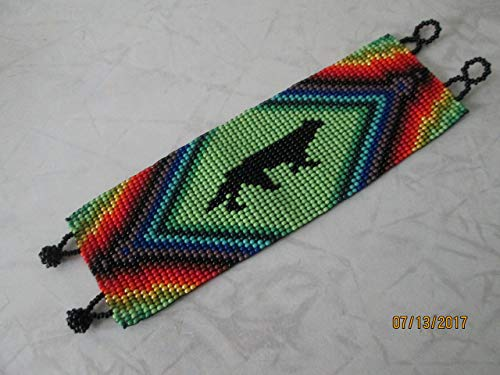 wolf coyote wide flat bracelet rainbow geometric aztec hand loom beaded southwest native american design fair trade beadwork seed beads Boho direct trade glass seed beads ethnic ()