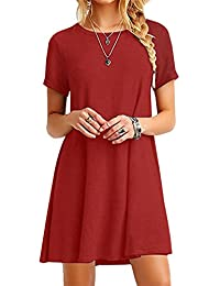 YMING Women's Short Sleeve Casual Loose T-Shirt Dress XS-4XL