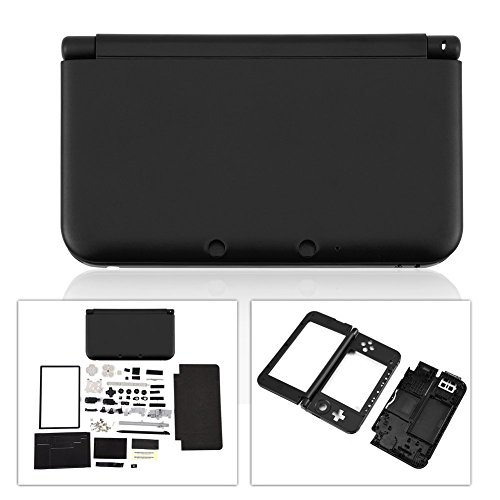 New Full Housing Case Cover Shell with Buttons Replacement Parts for Nintendo 3DS XL/3DS LL Game Console-Black.