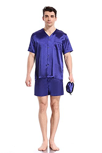Like2sea Summer Silky Satin Pajamas for Men, Short V-Neck Button Down PJ Set with Mask, Blue, XL by Like2sea