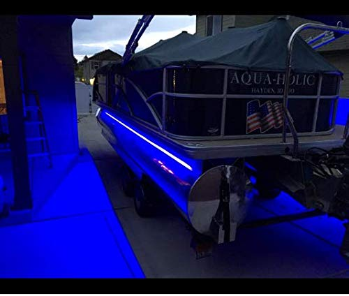 Green Blob Outdoors Pimp My Pontoon Blue LED Boat Deck Lighting Kit with Bonus Red & Green Navigation Lights DIY Pontoon Under Deck Lighting kit for Pontoon Boats