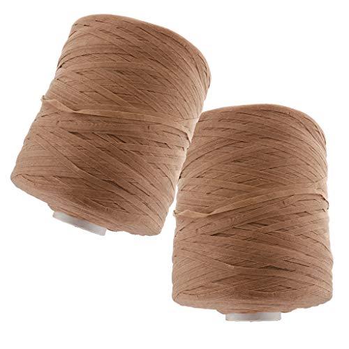 Baosity Polyester Crochet Hand Knitting Yarn Ribbon for Beach Hat Straw Hat Making 5mm - ()