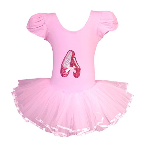 Dancina-Girls-Classic-Leotard-Ballet-Tutu-Tulle-Skirt-Dress-Short-Sleeve