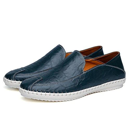 la Mocasines Moda Mocasines Barco Casuales Xiazhi Color de Caqui Azul de tamaño 43 shoes de conducción Cuero Slip sólido minimalismo EU Zapatos de Hombre de Color de PU on de TwqaPw