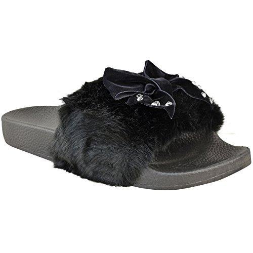 Fashion Thirsty Mujer Cómodo Lazo Slider Plano Piel Sintética Pantuflas Sandalia Diamante Desliza Talla Negro Piel Sintética / PEDRERÍA /LAZO