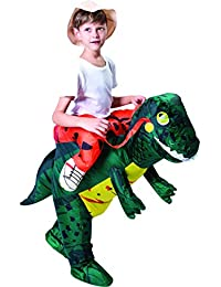 Inflatable Dinosaur Costume Riding a T-REX Air Blow-up Deluxe Halloween Costume