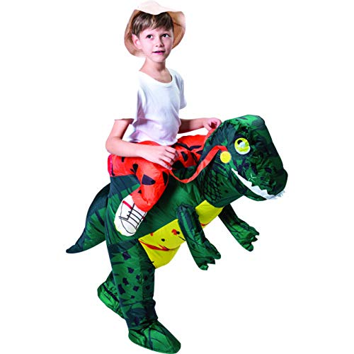 Spooktacular Creations Inflatable Dinosaur Riding a T-rex Air Blowup Costume Deluxe Child Size One Size Fits 6-12yr -