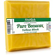 Stakich Pure Yellow BEESWAX Block - 100% Natural, Craft Grade, Premium Quality - (1 lb)