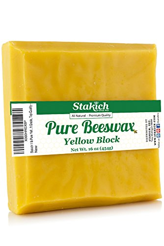 Stakich Pure Yellow BEESWAX Block - 100% Natural, Craft Grade, Premium Quality -