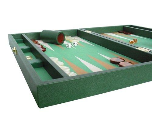 "Zaza & Sacci Leather/Microfiber Backgammon Set - Board Game - 20"" Green Case"