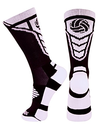 Tstars Perfect Gift for Volleyball Fans/Players - Volleyball Logo Athletic Crew Socks Medium black/white