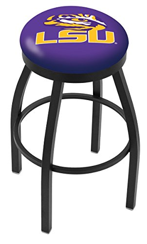 LSU Tigers HBS Black Swivel Bar Stool with Purple Cushion (30