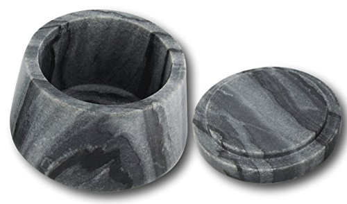 Shalinindia Handmade Ocean Gray Storage Box - Marble - 4 inches by 3 inches - Perfect as a Spice Jar With Lid or Small Office Supplies