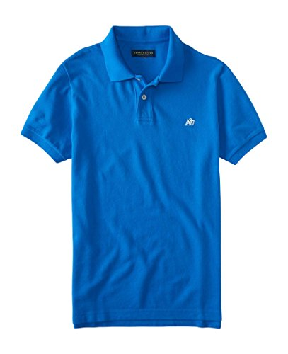 Aeropostale Men's Solid Uniform Logo Polo Shirt Large Blue 476